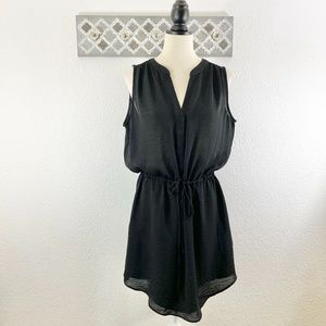 GAP Black Dress Sheer Chiffon Tie Waist, Size L